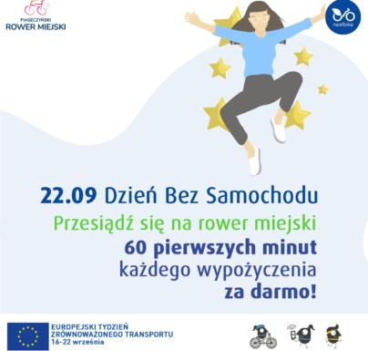 (Polski) Dzień bez samochodu na rowerach miejskich w Piasecznie: pierwsza godzina za darmo